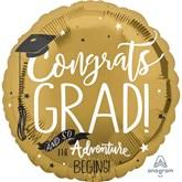 "Congrats Grad Adventure Begins 28"" Jumbo Foil Balloon"