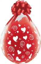 """Swirling Hearts 18"""" Clear Latex Stuffing Balloons 25pk"""
