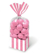 Light Pink Candy Buffet Striped Party Bags 10pk