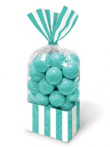 Robin Egg Blue Candy Buffet Striped Party Bags 10pk