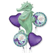 Mermaid Seahorse Foil Balloon Bouquet 5pce