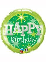 "18"" Happy Birthday Green Stars Foil Balloon"