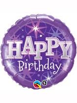 """18"""" Happy Birthday Purple Stars Foil Balloon"""