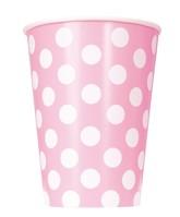Lovely Light Pink Dots 12oz Paper Cups 6pk