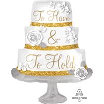 """Wedding Cake Satin Luxe 28"""" Foil Balloon"""