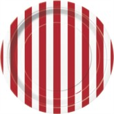 """Red Stripes 7"""" Round Paper Plates 8pk"""