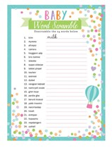 Baby Shower Baby Word Game