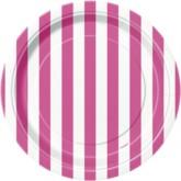 "Pink Stripes 7"" Round Paper Plates 8pk"
