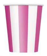 Pink Stripes 12oz Large Paper Cups 6pk