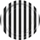 "Black Stripes 7"" Round Paper Plates 8pk"