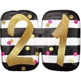 Pink & Gold 21st Birthday SuperShape Balloon