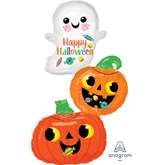 Ghost And Pumpkin Foil Balloon Stack