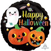 """Happy Halloween Cute Ghost And Pumpkins 18"""" Foil"""