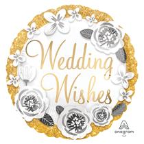 """Wedding Gold & Silver Satin Luxe 18"""" Foil Balloon"""
