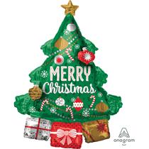 """Satin Luxe Christmas Tree 34"""" Multi Foil Balloon"""