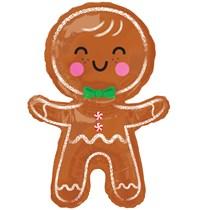 Christmas Happy Gingerbread Man Supershape Foil Balloon
