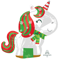 Christmas Unicorn Junior Shape Foil Balloon