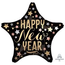 "Satin Luxe Star Happy New Year 18"" Foil Balloon"