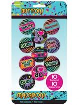 Totally 80s Badges 10pk