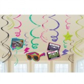 Totally 80s Hanging Swirl Decorations