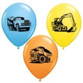 "11"" Assorted Construction Trucks Latex Balloons - 25pk"