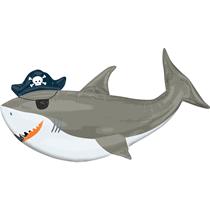 """Pirate Shark 41"""" Foil SuperShape Balloon"""