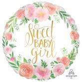 "Floral Baby Girl Satin Luxe 18"" Foil Balloon"