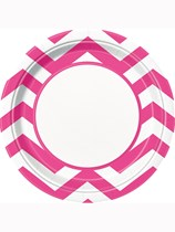 Hot Pink Chevron Paper Plates 8pk