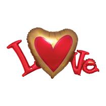 Satin Luxe Love Heart Letters SuperShape Foil Balloon