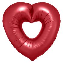 """Satin Luxe Sangria Open Heart 25"""" Foil Balloon"""
