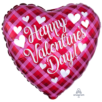 "Valentine's Plaid 18"" Heart Foil Balloon"