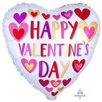 "Valentine's Hand Drawn Hearts 18"" Foil Balloon"
