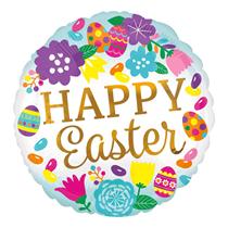 """Happy Easter Eggs & Flower 18"""" Foil Balloon"""