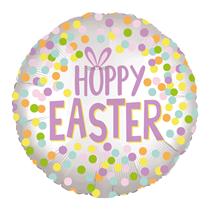"""Hoppy Easter Silver Satin Luxe 18"""" Foil Balloon"""