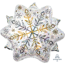 Christmas Holographic Snowflake Junior Shape Foil Balloon