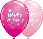 "Happy Birthday Wild Berry & Pink Latex 11"" Balloons 25pk"