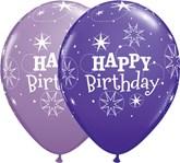 "Purple & Lilac Birthday Sparkle 11"" Latex Balloons 25pk"
