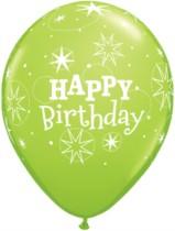 "11"" Green Birthday Sparkle Balloons - 25pk"