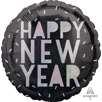 """Happy New Year Holographic 18"""" Foil Balloon"""