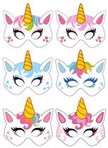 Unicorn Card Party Masks 6pk