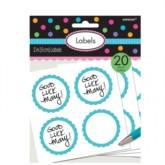 Scalloped Sweet Bag Labels 20pk - Caribbean Blue