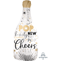"""New Year Satin Luxe 36"""" Champagne Bottle Foil Balloon"""