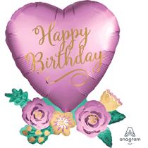 """Birthday Satin Luxe 30"""" Heart Foil Balloon"""
