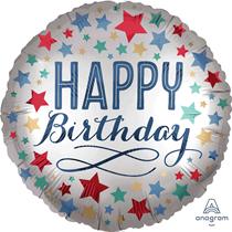 "Birthday Silver Satin Luxe 18"" Foil Balloon"