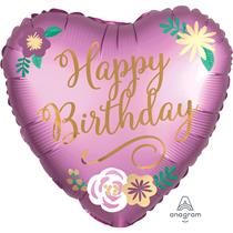 """Birthday Satin Luxe 18"""" Foil Heart Balloon"""