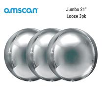 "Silver Jumbo 21"" Orbz Foil Balloon 3pk"