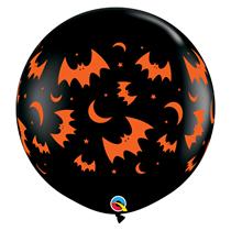 Halloween Flying Bats & Moons 3ft Round Latex Balloon 2pk