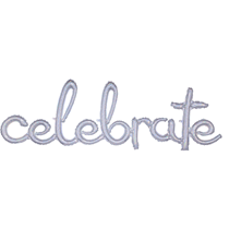"Holographic Celebrate Script 59"" Foil Balloon"