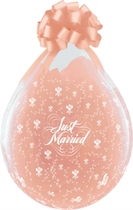 """Just Married 18"""" Clear Latex Stuffing Balloons 25pk"""