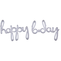 Holographic Happy B'Day Script Foil Balloons
